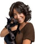 Gwen Cooper and Homer the blind wonder cat at Shadow Cats in Round Rock Texas